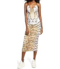 afrm amina sleeveless midi dress, size x-large in wild tiger at nordstrom