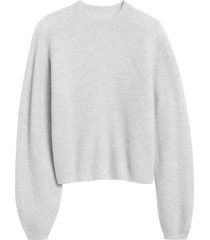 chaleco cropped ribbed puff gris banana republic