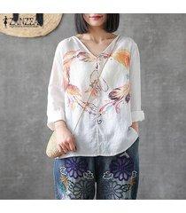 zanzea plus s-5xl de las mujeres con cuello en v camisa de gran tamaño de las tapas ocasionales de la impresión floral de la blusa de cover up -naranja
