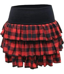 mini falda vuelos cuadrillé rojo nicopoly