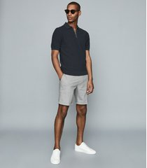 reiss joey - puppytooth shorts in navy, mens, size 38