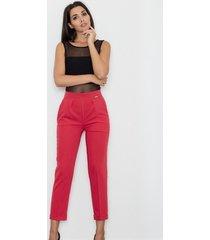 spodnie klasyczne z mankietem czerwone