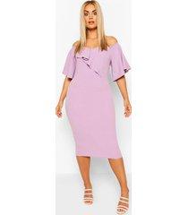 plus bardot cape sleeve midi dress, lilac
