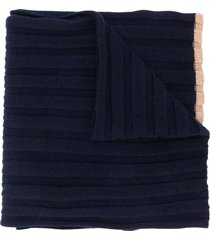 brunello cucinelli ribbed knit scarf - blue