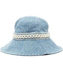 pearl embellished denim bucket hat