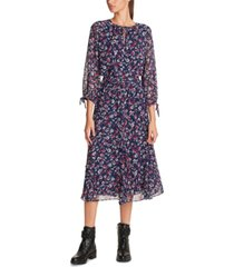 karl lagerfeld printed tie-neck midi dress