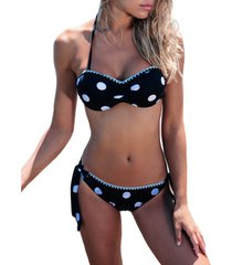 bikini admas 2-delige push-up bandeau bikiniset zwarte witte stippen adma's