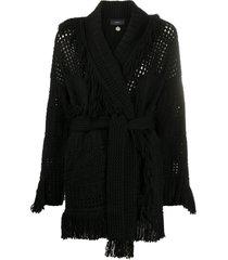 alanui fringe tied waist cardigan - black