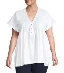 baea women's v-neck peplum top - white - size 2x (18-20)