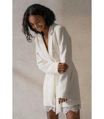 curated styles kavajklänning med spetsdetalj - white