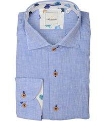 bos bright blue overhemd linnen blauw mf 21.20sh037.5/016