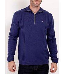 blusão tricot gola zíper masculino azul