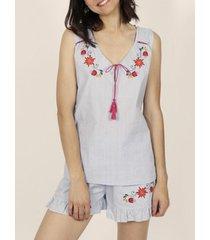 pyjama's / nachthemden admas pyjama's mexicaans borduurwerk blauw tank top shorts