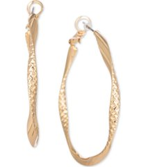 """charter club gold-tone textured spiral medium hoop earrings, 1.7"""", created for macy's"""
