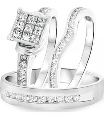 925 sterling silver lab-created diamond bridal & groom diamond trio ring set