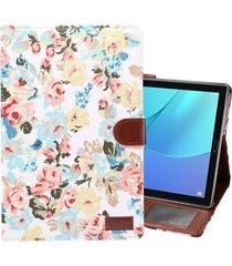 dibase para huawei mediapad m5 10,8 pulgadas superficie de tela flor patron pu estuche de cuero con titular y ranuras para tarjetas y cartera (blanco)