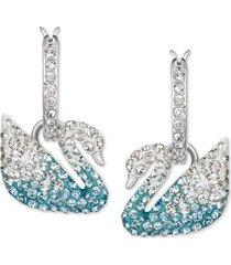 swarovski silver-tone crystal swan dangle hoop earrings