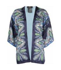 etro kimono de seda com estampa de penas - azul