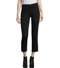 isabelle stud high-rise cropped jeans