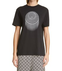 marine serre large fit optic moon graphic tee, size x-small - black