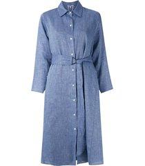 alcaçuz belted maria shirt dress - blue