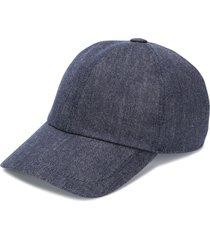 brunello cucinelli denim baseball cap - blue