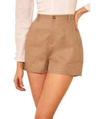 women's reformation sterling linen shorts, size 10 - beige