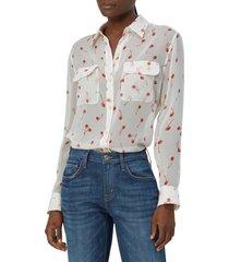 equipment slim signature cherry print silk shirt, size medium in nature white multi at nordstrom