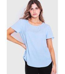 blusa wados manga corta escote redondo celeste - calce holgado