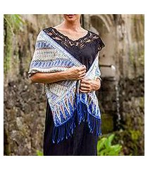 batik silk scarf, 'parang world in indigo' (indonesia)