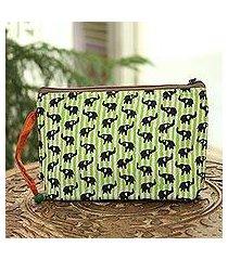 batik cotton cosmetic bag, 'elephant harmony in kiwi' (india)