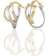 orecchini a cerchio in oro tricolore per donna