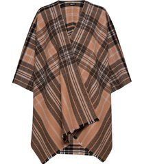 day check text woven poncho poncho regnkläder brun day et