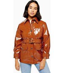 petite chicago brown belted vinyl coat - tobacco