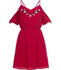 abito ricamato con cout-out (rosso) - bodyflirt boutique