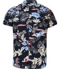 camisa estampado flores color azul, talla xs