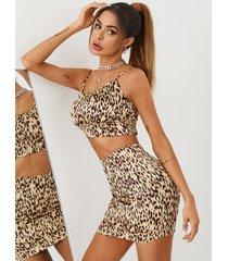 yoins conjunto de falda y blusa sin mangas fruncidas de leopardo caqui