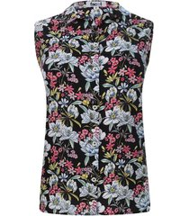 camisa m/s flores de colores color negro, talla l