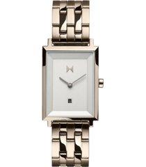 mvmt women's nomad land beige gold-tone stainless steel bracelet watch 24mm