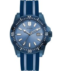 guess men's sky blue & navy silicone watch 46mm