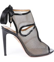 aquazzura mesh open toe booties