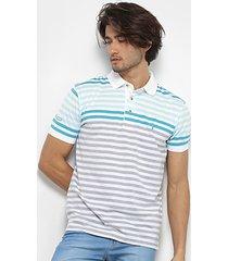 camisa polo aleatory listrada fio tinto masculina