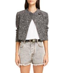 women's isabel marant etoile hakuni cotton & wool blend tweed crop jacket, size 12 us - grey