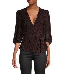 ganni women's dot-print wrap blouse - black - size 38 (6)