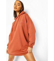 oversized official sweatshirt jurk met rugopdruk, roest