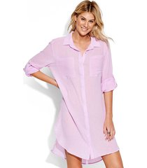 seafolly crinkle twill beach shirt lilac