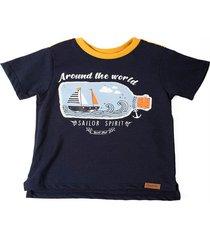 camiseta manga corta estampado y bordado en frente