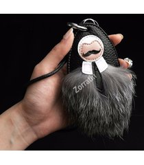 black handmade luxury fur real leather key case pouch bag universal fit bmw merc