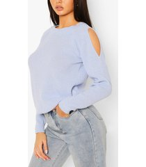 cold shoulder moss stitch sweater, pastel blue