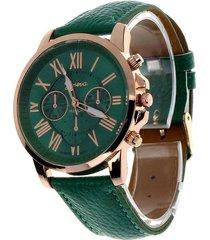 reloj para mujer analogo numeros romanos verde
